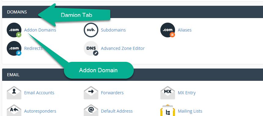 addon Domain Option in the Small Oragne Cpanel